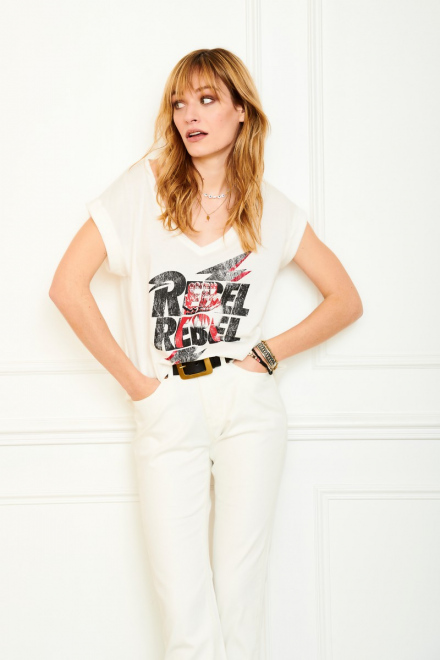 T-shirt - TAMI BOWIE - Craie
